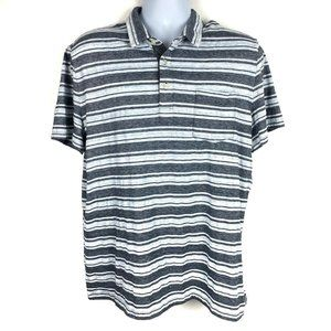EXPRESS Blue Grey Striped Short Sleeve Polo Shirt